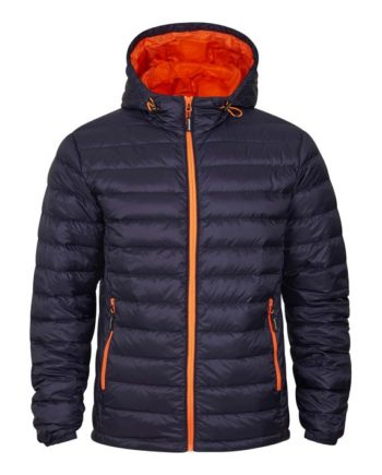 Tracker Superlight Hooded Down Jacket Unisex Marine m/orange kontrast kjøper du på SQOOP outdoor