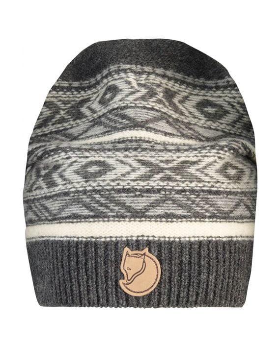 Fjällräven Övik Folk Knit Beanie DARK GREY kjøper du på SQOOP outdoor (SQOOP.no)