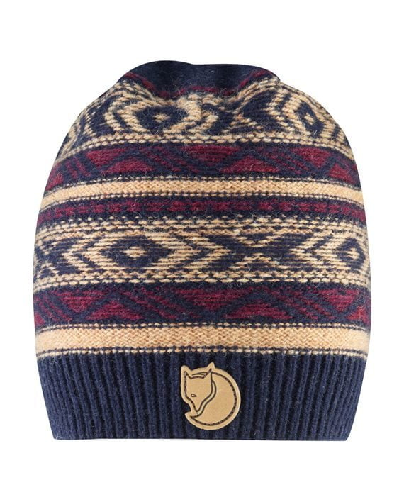Fjällräven Övik Folk Knit Beanie DARK NAVY kjøper du på SQOOP outdoor (SQOOP.no)