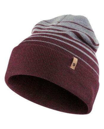 Fjällräven Classic Striped Knit Hat DARK GARNET-GREY kjøper du på SQOOP outdoor (SQOOP.no)